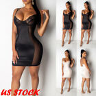 US Plus Size Women's V Neck Mesh Sheer Long Sleeve Bodycon Party Club Mini Dress