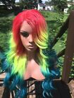 Rainbow Lace Front Wig Natural Wave 24 Synthetic pride Skittles deep Part