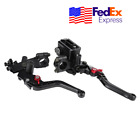 2x 22mm Race Motorcycle CNC Clutch Cylinder Lever Brake Lever Grip w/ Container