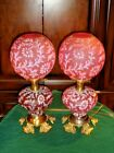 FENTON LGWRIGHT DAISY AND FERN CRANBERRY GWTW LAMP EXTREMELY RARE