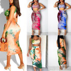 Womens Ladies Bodycon Two Piece Crop Tops and Skirt Set Party Club Beach Dress