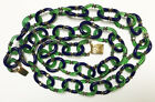 VINTAGE ARCHIMEDE SEGUSO FOR CHANEL BLUE  GREEN MURANO GLASS CHAIN NECKLACE 32