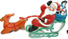 Lighted Santa Claus Sleigh Plastic Blow Mold Empire Vintage Reindeer