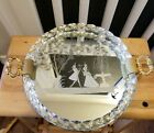 Vintage Venetian Murano Glass Etched Mirror Tray With Hand Blown Twisted Rim EUC