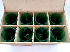 Vintage Anchor Hocking 8 Piece Roly-Poly Tumber Set Forest Green Unused in Box