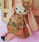 Handcrafted Hand Painted Artist Original Country Art Rag Doll Cloth Bunny OOAK