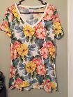 LulaRoe White Yellow Coral Blue Green Floral Christy Tee Size M NWT