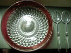 INDIANA GLASS RUBY BAND DIAMOND POINT CRYSTAL 13 SALAD BOWL 3 PC SET