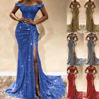 Women Long Evening Cocktail Dress Party Ball Gown Sexy Sequin Bridesmaid Wedding