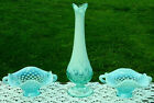 FENTON Blue Opalescent Hobnail Lily of Valley Vase  2 Hobnail Nappies 425L