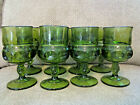 Vintage Indiana Colony glass 8 olive green Kings Crown thumbprint 8oz goblets 6