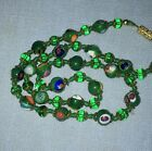 Bright Green 18 Hand Knotted Venetian Millefiori Glass Bead Necklace