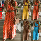 Women V-neck Short Sleeve Boho Holiday Vintage Maxi Dress Evening Party Cocktail