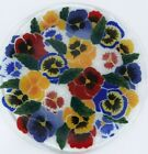 Peggy Karr Pansies Plate Signed Fused Glass Art Retired Excellent Condition 11