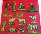 Antique Victorian Christmas Die Cut Embossed Tree Decoration Nativity Set RARE