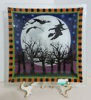 PEGGY KARR FUSED GLASS HALLOWEEN NIGHT 10 SQUARE PLATE WITCH BATS MOON