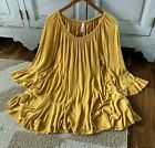 XL Womens Boutique Mustard Loose Ruffle Sleeve Peasant Blouse Top NWT X LARGE