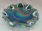 Indiana Carnival Glass Iridescent Blue Hostess Plate Ruffle Scallopped Starburst
