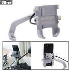 Silver CNC ATV Scooter Mirror Screw Phone Holder Mount Bracket + USB Charger USA
