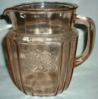 GORGEOUS VINTAGE PINK GLASS PITCHER SUNFLOWER HOCKING GLASS MAYFAIR OPEN ROSE
