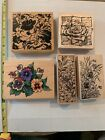 Lot of 5 Large Floral Rubber Stamps