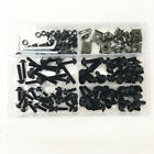 177x Black Motorcycle Fairing Bolt Kit Bodywork Screw Washer Clips M6 M5 US Ship