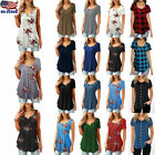 US Women Ladies Short Sleeve Loose Blouse T Shirt Comfy Baggy Summer Tunic Tops