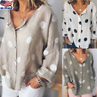 Womens Cotton Long Sleeve Polka Dot Blouse Casual Loose Baggy Tunic Tops T Shirt