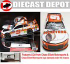 AUTOGRAPHED CHASE ELLIOTT RCCA ELITE 2019 HOOTERS 1 24 SCALE DIECAST