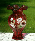 Fenton Cranberry Hand painted Pansy Hexagon Vase With Ruffled Top95H