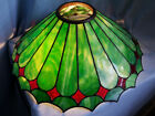ANTIQUE VINTAGE ARTS  CRAFTS PERIOD GREEN RED SLAG GLASS LAMP SHADE STEUBEN ERA