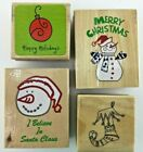 Snowman Believe In Santa Merry Christmas Holiday Rubber Stamp Wood Mount Lot 4