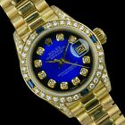 Rolex Watch Womens Datejust 69178 Presidential 18k Gold Blue Vignette Sapphires
