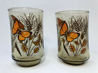 Libbey TAWNY GARDEN PARTY - set of 2 JUICE GLASSES - butterfly wheat - vintage