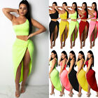 Women Sexy One Shoulder Bodycon Two Piece Crop Top Skirt Set Dress Party Outfits