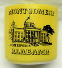Vintage Montgomery Alabama Coffee Cup, Yellow on Milk Glass, Federal Heat Proof