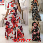 US Women Plus Size Summer Floral Maxi Long Dress Ladies Party Holiday Sundress