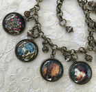 WILLIAM MORRIS Altered Art GLASS DOME CHARM BRACELET Vintage Floral DESIGNS Lion