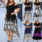 US Plus Size Womens Cold Shoulder Asymmetric Maxi Dress Ladies Floral Long Dress