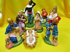 VINTAGE 8 PIECE 6 CHALKWARE NATIVITY SET Holy Family 3 Kings + extra