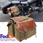 Olive Green Motorcycle Saddle Bag Travel Tool Storage Canvas Pouch Universal USA