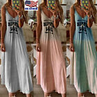 Womens Strappy V Neck Long Maxi Dress Ladies Summer Beach Holiday Loose Sundress