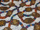 NOVELTY FABRIC WESTERN RANCH BELT BUCKLES COWBOY NATIVE TRIBE MAP 4+yds X 44