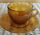 Vintage Tiara Indiana Amber Sandwich Glass Cup and Saucer Set 1960's