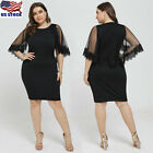 Plus Size Womens Lace O Neck Short Dress Bodycon Party Evening Formal Dress USA
