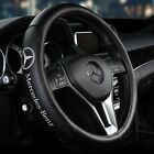 15 Car Steering Wheel Cover Genuine Leather For Mercedes Benz Black