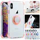 Clear Thin Magnetic Rubber Ring Holder Stand Case Cover For iPhone XS Max XR 8 7