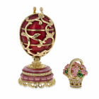 1899 1903 Spring Flowers in Red Royal Russian Egg 3 Inches