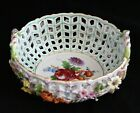 Carl Thieme Dresden hand painted Applied Flowers Reticulated Handled Basket Bowl