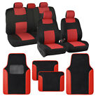 Polyester Car Seat Covers Pu Leather Trim Carpet Floor Mats For Auto Set